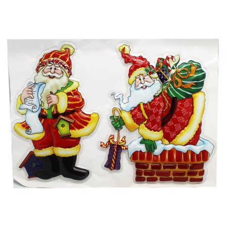 Christmas Selections Santa Claus Large Raised Stickers (2 - Christmas Santa Stickers