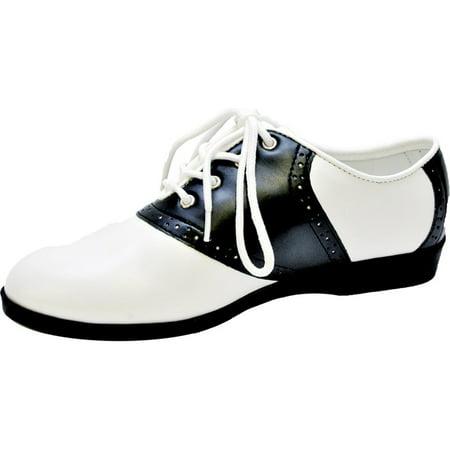 Morris Costumes Womens Halloween Flat Black White Saddle Shoes - Womens Saddle Shoes
