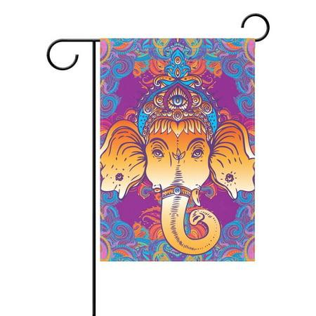 POPCreation Hippie Hindu Lord Ganesha Elephant Polyester Garden Flag Outdoor Flag Home Party Garden Decor 28x40 inches](Outdoor Home Decor)