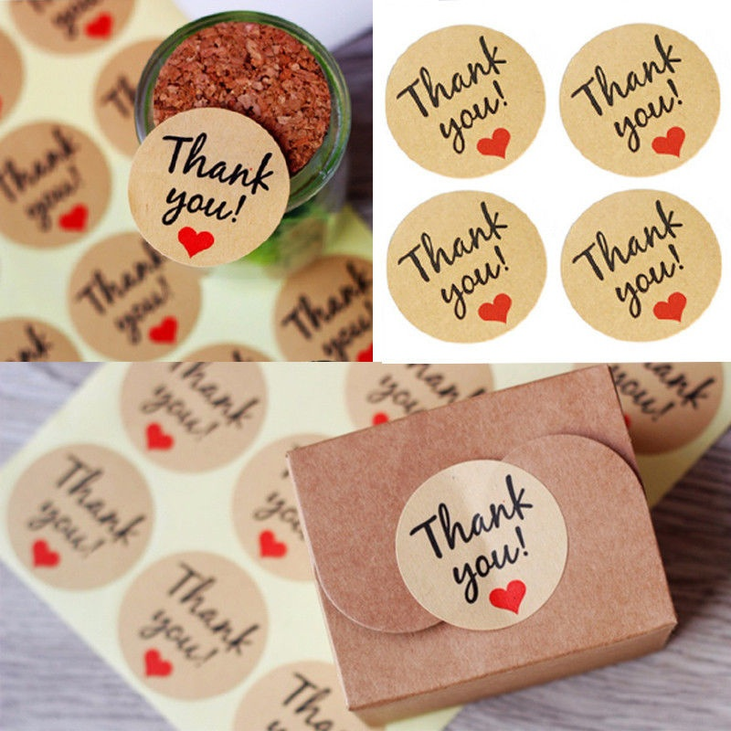 28 x Thank You Vintage Kraft Sticker Labels Wedding Christmas Craft Seals TYPE