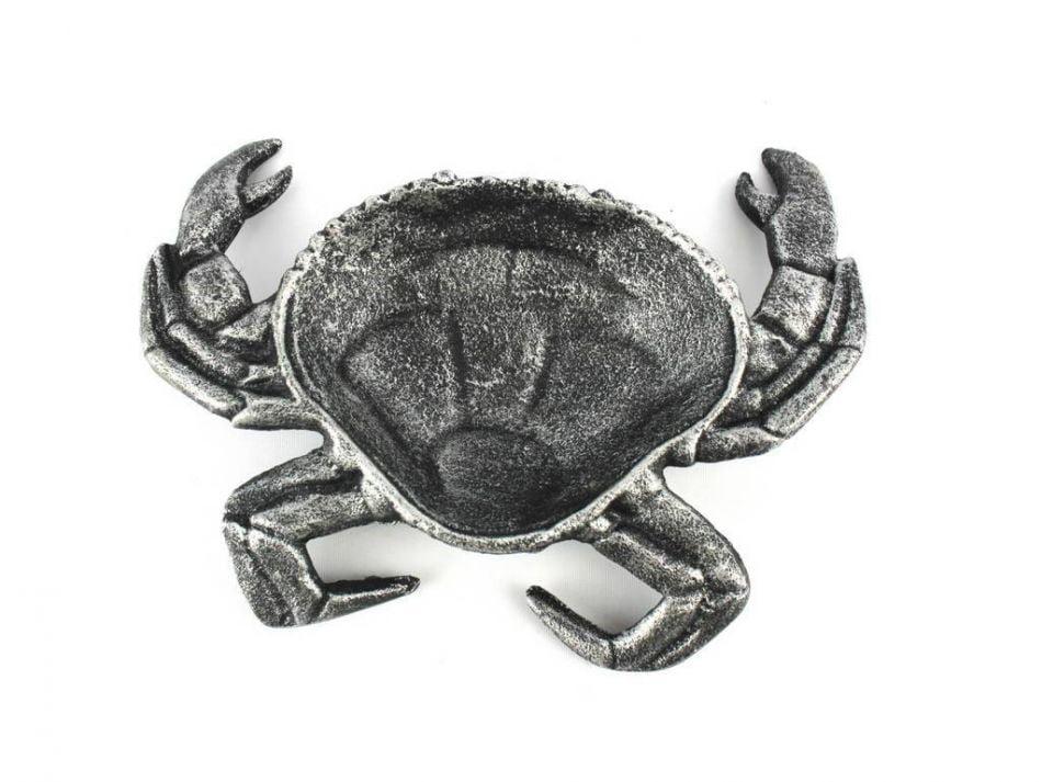 "Antique Silver Cast Iron Crab Decorative Bowl 7"" Decorative Cast Iron Sea Life Decorations by Handcrafted Nautical Decor"