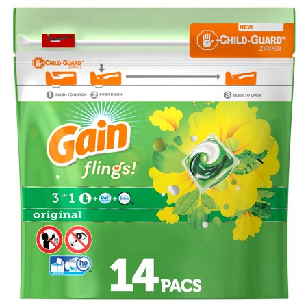Gain flings! Liquid Laundry Detergent Pacs, Original, 14 count