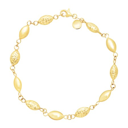 Alternating 14k Gold Bead (Alternating Station Bead Link Bracelet in 14kt Gold)