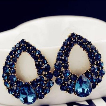 Alluring Sapphire Blue Austrian Crystal Cocktail Earrings Sapphire Blue Blue Sapphire Crystal Earrings