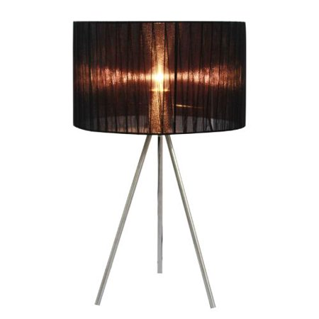 Simple Designs Brushed Nickel Tripod Table Lamp with Pleated Sheer Shade