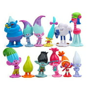 """Jiahui Brand 12 Pcs Troll Toys, Mini Trolls Figures Collectable Doll, Trolls Action Figures, Cake Toppers, 1.18""""-2.76"""""""