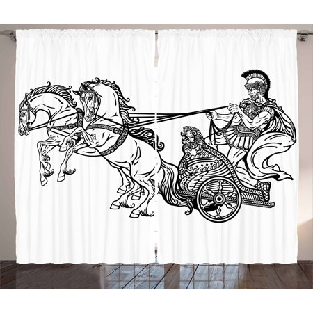Toga Party Curtains 2 Panels Set, Roman Warrior in a Chariot Pulled by Two Horses Historic Carriage Monochrome, Window Drapes for Living Room Bedroom, 108W X 90L Inches, Black White, by Ambesonne (Roman Toga)