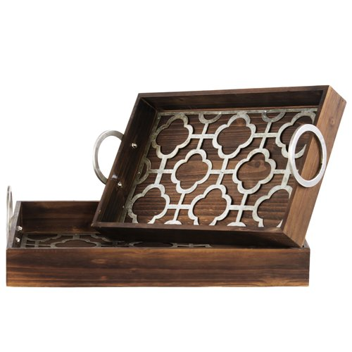 Urban Trends 2 Piece Wood Nesting Tray Set