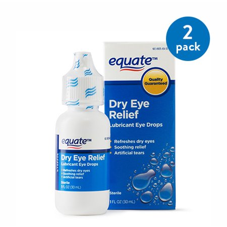 Pet Vision Eye Drops - (2 Pack) Equate Dry Eye Relief Lubricant Eye Drops Liquid, 1 Oz