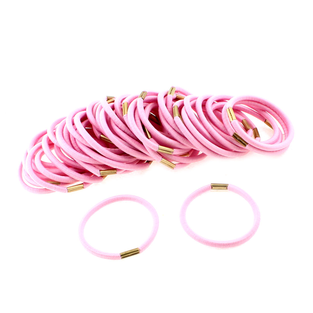 Women Elastic Hair Tie Rope Ring Band Hairband Ponytail Holder Pink 50pcs