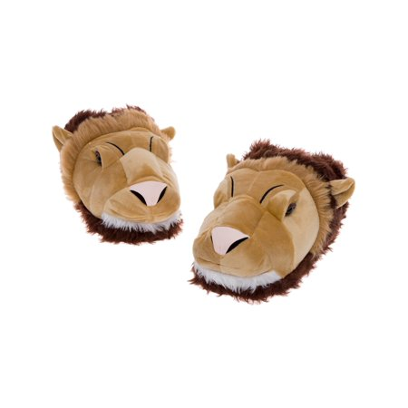 Silver Lilly Lion Face Slippers - Plush Slip Ons w/ Comfort Foam - Toddler Slip Ons