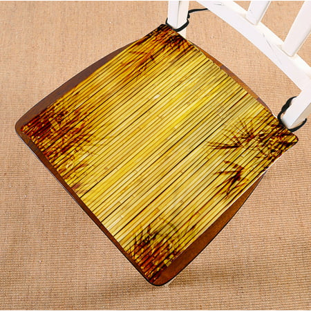 PHFZK Nature Wood Chair Pad, Bamboo and Leaves Seat Cushion Chair Cushion Floor Cushion Two Sides Size 16x16