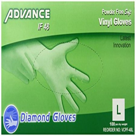 Synthetic Vinyl Powder Free Gloves  Clear  Box Of 100   Multi Purpose And General Use  Large