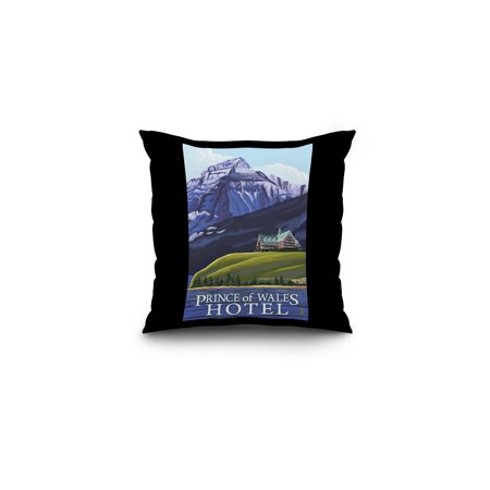 Waterton Natl Park  Canada   Prince Of Wales Hotel   Lp Original Poster  16X16 Spun Polyester Pillow  Black Border