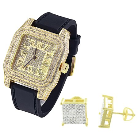 Iced Out Gold Finish Watch Lab Diamonds Techno Pave Roman Numeral Dial Earrings 10mm