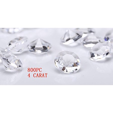 Jollylife 800 Diamond Table Confetti Wedding Bridal Shower Party Decorations 4 Carat/ 10mm Clear - Diamond Party Confetti