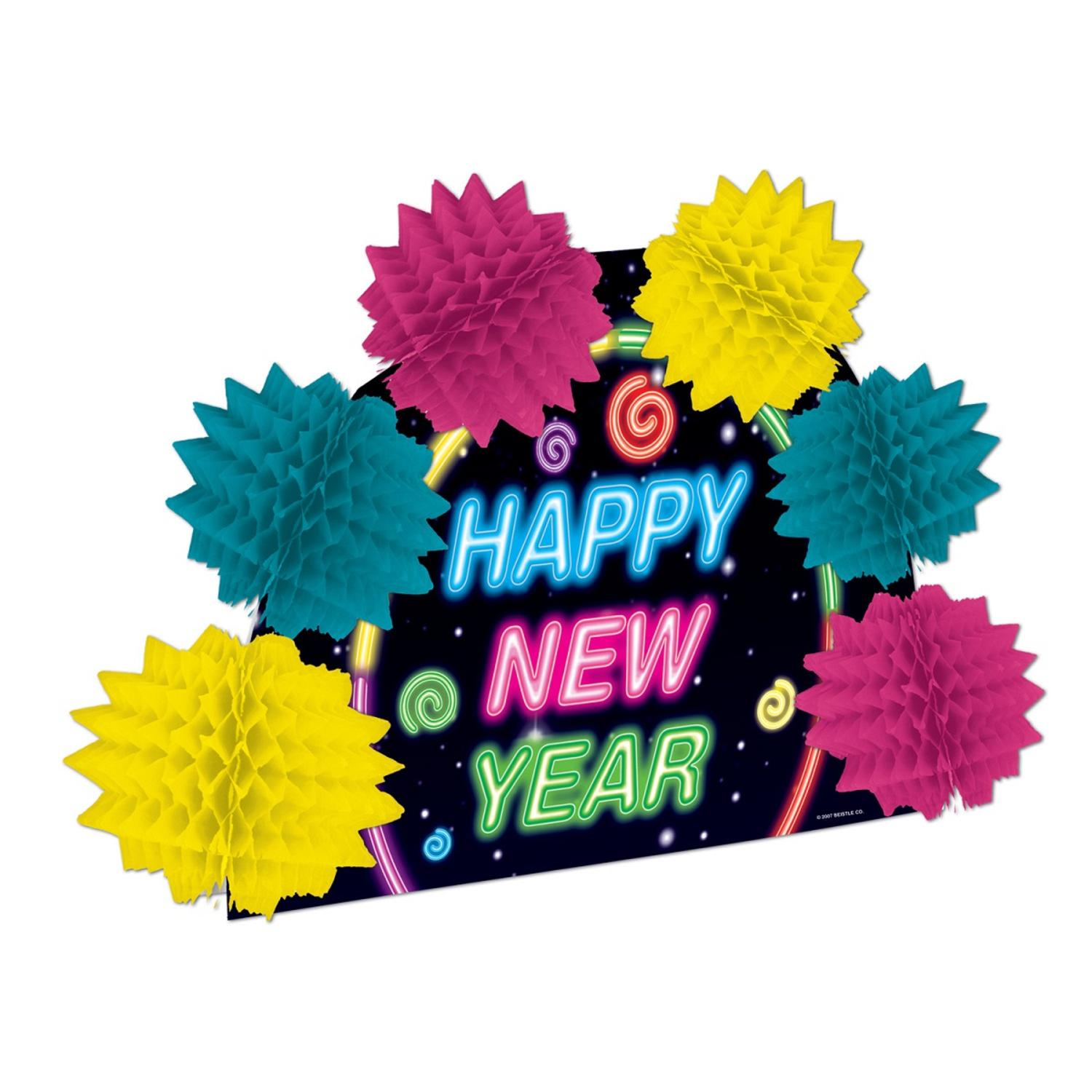 """Club Pack of 12 Multi-Colored Happy New Year Pop-Over Decorative Centerpiece 10"""""""