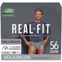 Depend Real Fit Incontinence Underwear for Men, Maximum Absorbency, Small/Medium, Grey, 56 Count