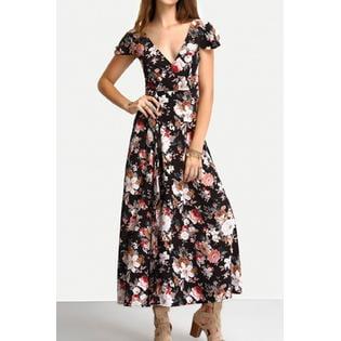 Women Straps V-Neck Short Sleeves Pleated Skirt Dress (Pleats V-neck Skirt)