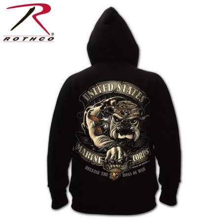 (Price/EA)Rothco 80333 Black Ink U.S.M.C. Bulldog Hooded Pullover Sweatshirt-S Black Ink Usmc Bulldog