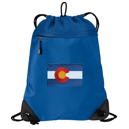 Colorado Flag Cinch Backpack Colorado Drawstring Bag String Pack Mesh & Microfiber - Two Sections](Mesh Drawstring Backpack)