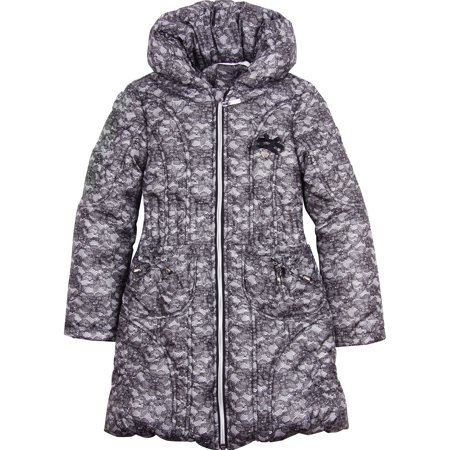 Le Chic Girl's Puffer Coat in Lace Print, Sizes 4-14 - 104/4 - image 2 of 2