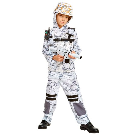 Winter Camo Stealth Soldier Child Costume - Roman Soldier Costume For Kids