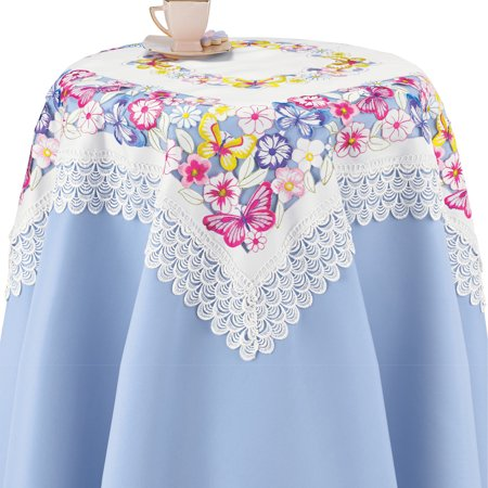 Lovely Embroidered Blooming Flowers Table Linens - Features Pansies, Daisies, and Butterflies - Intricate Cutwork, Lace Border - Machine Washable, Polyester - Runner, Square