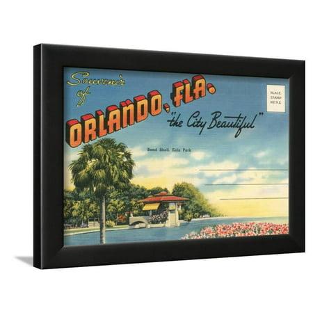 Brown Postcard - Postcard Folder, Souvenir of Orlando, Florida Framed Print Wall Art