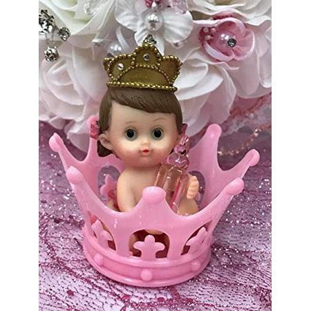 10 Princess Girl Inside Pink Tiara Crown Baby Shower 1st Birthday Favor Decoration Cake -
