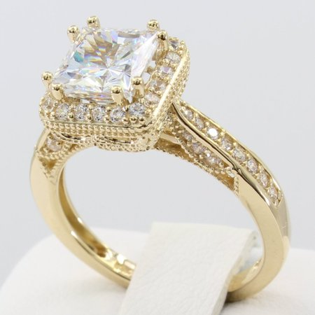 2.50 Ct 14K Real Yellow Gold Fancy Square Princess Cut Center with Pave Set Side Stones Illusion Halo Setting Antique Vintage Style Engagement Wedding Bridal Propose Promise Ring Antique Style Engagement Ring Setting