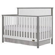 Dream On Me Alexa II 5 in 1 Convertible Crib - White with Wire Brushed Silver Grey Pearl
