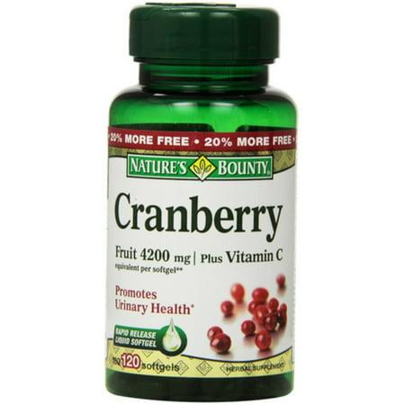 Nature's Bounty Cranberry Fruit 4200 mg, Plus Vitamin C Softgels, 120 ea (Pack of 2)