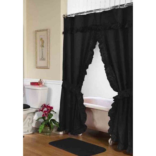 Carnation Home Fashions Lauren Dobby Double Swag Shower Curtain