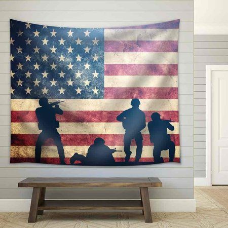 wall26 - Soldiers in Assault on Grunge Usa Flag. American Army, Military Concept. - Fabric Wall Tapestry Home Decor - 68x80 inches