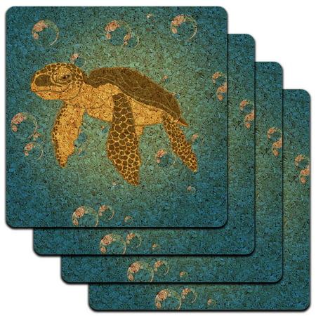 Sea Turtle Ocean Cute Low Profile Cork Coaster Set for $<!---->