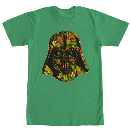 Star wars men 39 s hawaiian print darth vader helmet t shirt for Hawaiian graphic t shirts