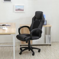 Belleze Racing Style Office Chair PU Leather Race High Back Swivel Seat Computer Desk, Black