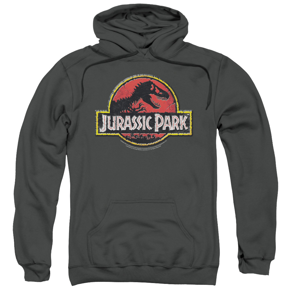 Jurassic Park/Stone Logo Adult Pull Over Hoodie Charcoal  Uni252