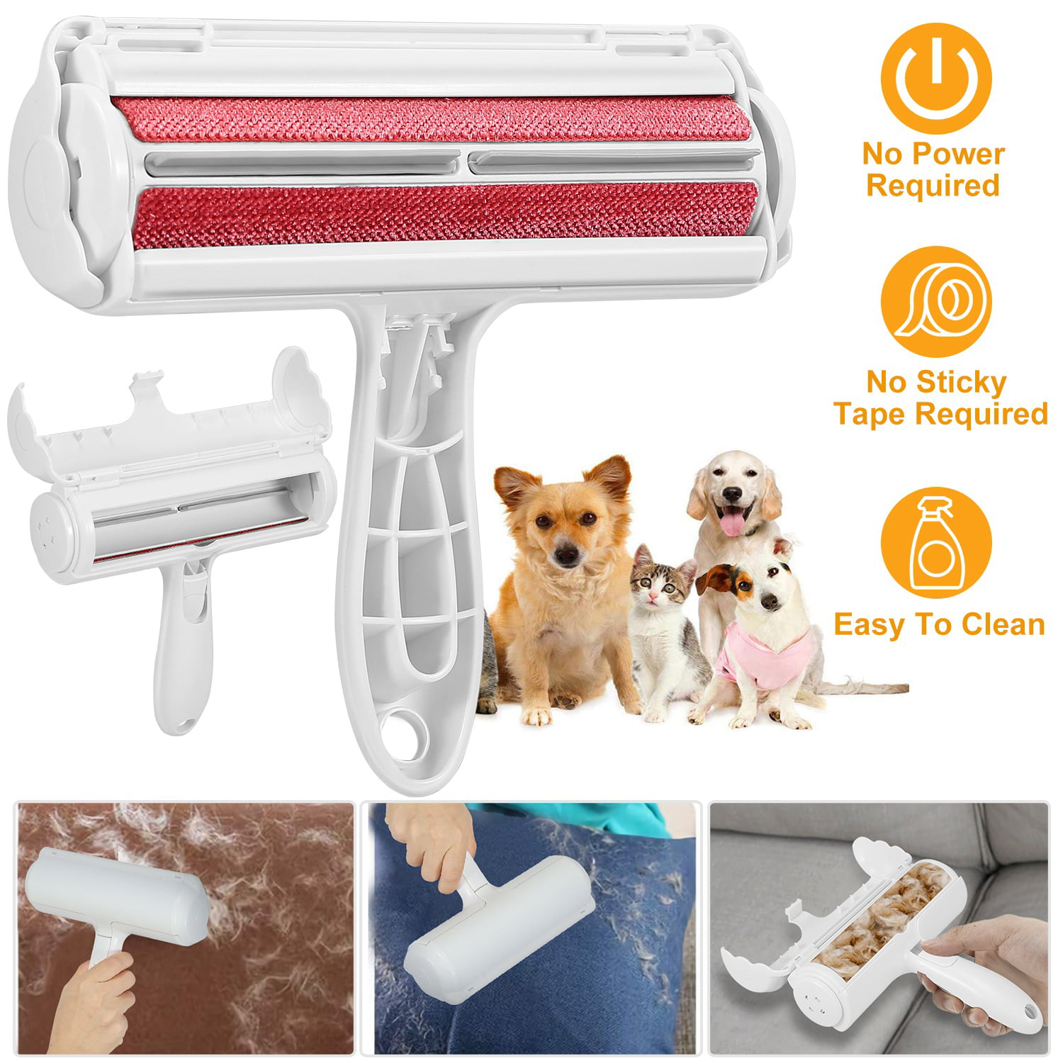 Red Pet Hair Remover Lint Roller Dog Cat Hair Cleaning Brush Removing Dog Cat Hair for Furniture Carpets Clothing Self-Cleaning Reusable Red