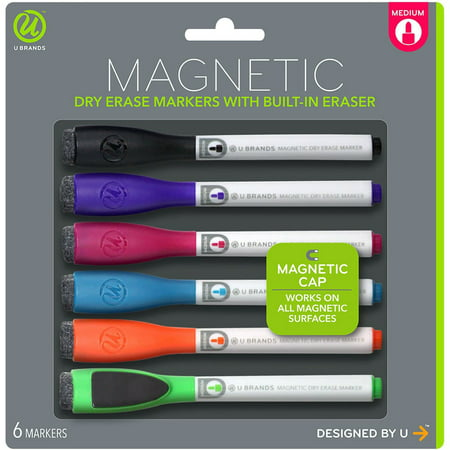 Magnetic Dry Erase Markers (Dry Erase Medium Point Markers 6/Pkg Assorted)