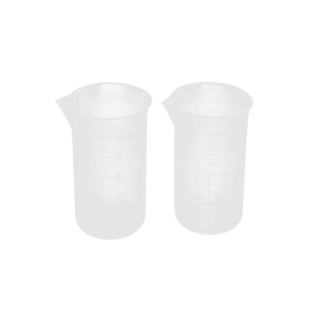 OkrayDirect 100mL Graduated Beaker Clear Plastic Measuring Cup for Lab 2 (Best Beaker For Milk)