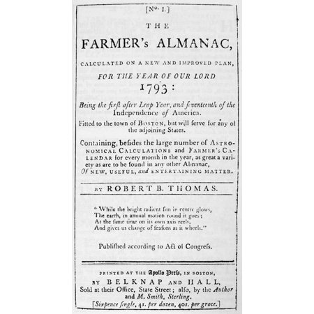 Farmers Almanac 1793 Nfacsimile Of The Front Cover Of The First  Old  Farmers Almanac Boston 1793 Poster Print By Granger Collection