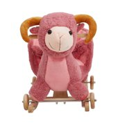 Child Rocking Horse Plush Pink Sheep Ride on Toy Seat Belt with Music