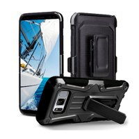 Samsung Galaxy S8 Plus Case with Kickstand and Xtreme Heavy Duty Protection with Belt Clip Holster for Galaxy S8 Plus (2017) - Black/ Black S8+