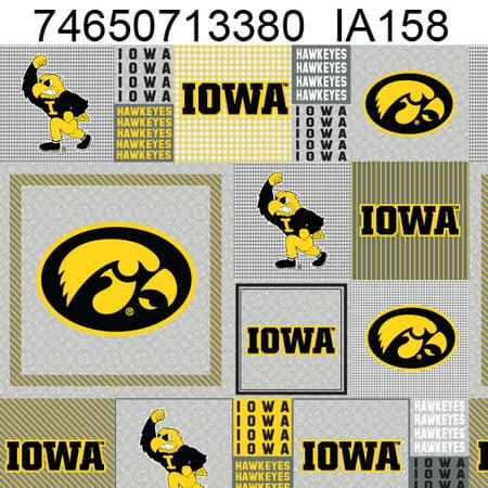 University of Iowa Heather Grey Printed Fleece Fabric-Sold by the Yard