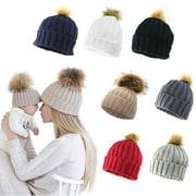 Women Adult Child Winter Knit Beanie Hat Fur Ski Pom Pom Cap