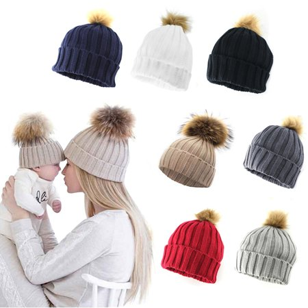 Women Adult Child Winter Knit Beanie Hat Fur Ski Pom Pom Cap