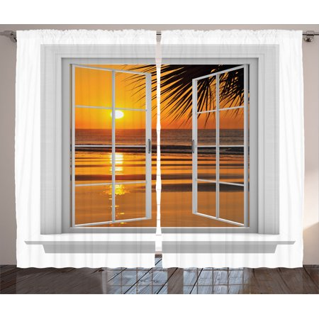 House Decor Curtains 2 Panels Set, Open Window With An Ocean Sunset View Sky Tropics Nature Vacation Romantic, Living Room Bedroom Accessories, By