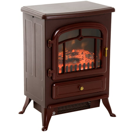 "HOMCOM 16"" 1500 Watt Free Standing Electric Wood Stove Fireplace Heater - Red"